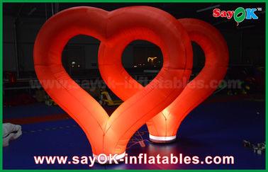 الصين زفاف في الهواء الطلق نفخ زينة الأحمر نايلون قابل للنفخ القلب مع الصمام الخفيفة المزود